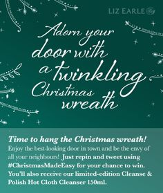 I'm in to #win a deluxe Christmas wreath from Liz Earle's #ChristmasMadeEasy! 6th Dec only.