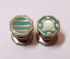Vintage Silver Tone Cufflinks Snap Links Jewelry Mother of Pearl Blue Enamel Set #FreDau