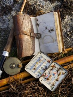 A Split-Cane Fly Rod and Traditional Fly-Fishing Equipment Beside a Trout Lake in North Wales, UK John Warburton-lee.  #fishing