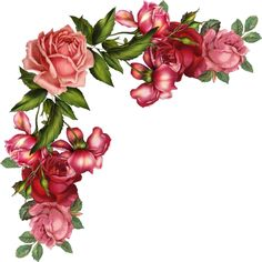 Blumenranken - Tendrils of flowers - Vrilles de fleurs Vintage Diy, Vintage Cards, Vintage Flowers, Vintage Images, Vintage Floral, Flower Frame, Flower Art, Decoupage Paper, Floral Border