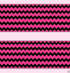 Hot Pink and Black Chevron Wallpaper Border Wall Decals for baby girl nursery, teen bedroom decor, or any home decorating idea #decampstudios