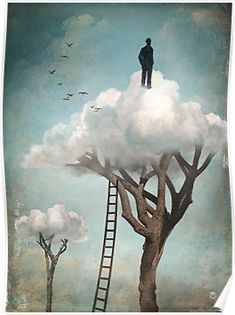 """The Great Escape"" Digital Art by Christian Schloe posters, art prints, canvas prints, greeting cards or gallery prints. Find more Digital Art art prints and posters in the ARTFLAKES shop. Fantasy Kunst, Fantasy Art, Illustration Photo, Surrealism Painting, The Great Escape, Magritte, Arte Pop, Fine Art, Oeuvre D'art"