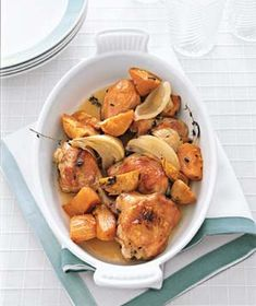 Maple-Roasted Chicken With Sweet Potatoes from realsimple.com #myplate #protein