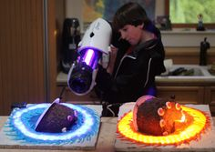 This is a Portal cake that looks like it's falling through a portal thanks to a clever cut and some custom light-up cake plates. You have to admit, it's a pretty smart way to salvage a cake that's fallen on the floor. Me? I would have just slapped another layer of icing on it. Nobody expects to find hair UNDER the frosting.