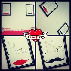 ♡ DIY - Quadro Mr. & Mrs ♡