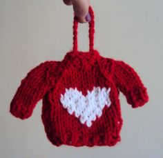 Valentines Day Mini Sweater Knit Miniature Red Sweater With White Heart Wedding Decoration Christmas Ornament Cute Gift Ideas Under 25 by GrahamsBazaar, $10.00