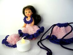 Barbie Kelly Lighted doll ornament. Includes the Kelly Doll, crocheted dress…