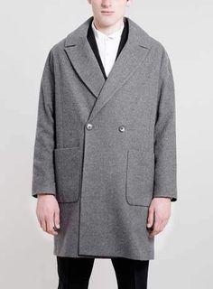 Mens Grey Drop Shoulder Smart Coat | Podster