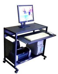 allmetal 32 inch wide steel computer desk compact all steel mobile computer cart