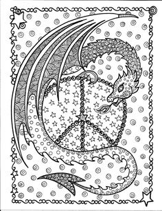 INSTANT Download Dragon Peace Sign Coloring Page be the Artist Fantasy Art to Color