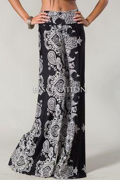 a8e93db29b70 Black white paisley print fold over waist wide leg yoga palazzo pants s m  l. Palazzo Pants Plus SizePrinted ...