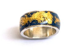 Blue gold ring handmade in Sterling silver with gold by hilawelner