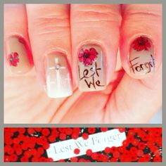 Lest we forget Red poppies and white crosses done with Akzénts gels White Crosses, Paws And Claws, Remembrance Day, Red Poppies, Nail Designs, Forget, Nails, Nail Ideas, Hair Styles