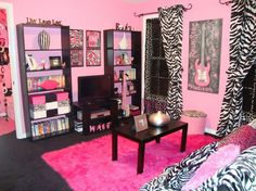 Bedroom : Astounding elegant wall shelves with pink fur rug featuring curtain zebra motif all about pink theme for teenage girl bedroom ideas picture - a part of Mesmerizing Endearing Girls Rooms Delightful Bedroom Design Ideas For Teenage Girl
