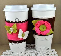 Super cute cozie tutorial! http://dawnmcvey.typepad.com/these_are_a_few_of_my_fav/2010/05/custom-coffee-cozies.html