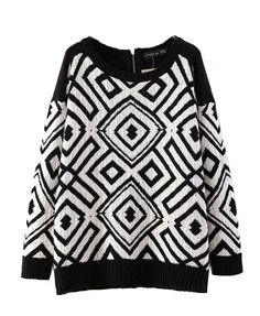 Contrast Color Geometrical Pattern Sweater