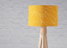 Yellow lampshade Yellow light shade Mustard yellow Mustard home decor Geometric lampshade Yellow geometric Yellow lamp Floor lamp Yellow Cushions, Yellow Fabric, Yellow Light Shades, Small Bedside Lamps, Tall Table Lamps, Yellow Home Decor, Table Haute, Contemporary Lamps, Handmade Home