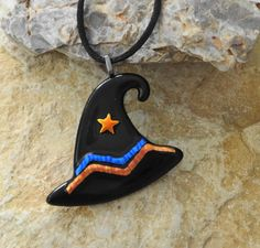 Fused Glass Witch Hat Pendant Halloween Jewelry by GlassCat