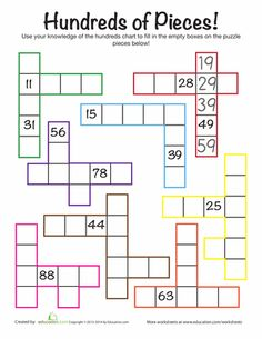 First Grade Math Worksheets: Hundreds Chart Challenge Math Classroom, Kindergarten Math, Teaching Math, Math Resources, Math Activities, Fun Math Worksheets, Number Sense Activities, Place Value Activities, Formation Continue