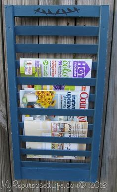 shutter magazine rack - using chalk paint in sprayer tutorial