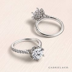 This beautiful Genoa setting Gabriel & Co engagement ring puts a little spin on the classic round style. You can see the added a beautiful twist of unique pavé set crown to embrace your gorgeous round diamond.   Style featured: ER10521R8W83JJ Round Diamond Engagement Rings, Beautiful Engagement Rings, Engagement Ring Styles, Engagement Ring Settings, Diamond Gemstone, Diamond Jewellery, Unique Rings, White Gold Rings, Custom Jewelry