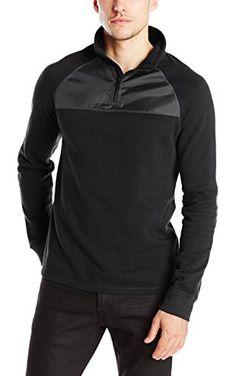 Calvin Klein Jeans Men's Quarter Zip with Nylon, Black, X-Large ❤ Calvin Klein Jeans Men's Collection