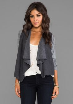 CHASER Drape Front Open Cardigan in Black