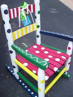 Hand Painted Wooden Rocker - Gender Neutral for Baby Shower Painted Wooden Chairs, Funky Painted Furniture, Refurbished Furniture, Furniture Makeover, Furniture Ideas, Outdoor Furniture, Painting Kids Furniture, Wood Painting Art, Shabby Chic Bedroom Furniture