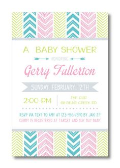 Printable Baby Shower Invitation by PerfectlyPrintables on Etsy, $13.00 #pastel #Aztec #baby #shower #invitation