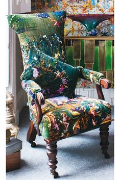 A green patterned velvet upholstery fabric for creating beautiful statement velvet chairs, sofas, cushions and footstools Cushions For Sale, Soft Furnishings, Cushions, Velvet Decor, Velvet Interiors, Upholstery, Velvet Collection, Velvet Upholstery Fabric, Velvet Cushions