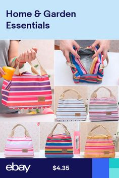 022b7920fae3 New Travel Portable Thermal Insulated Cooler Stripe Picnic Lunch Bag Carry  Case