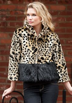 Leopard & Black Fox Cropped Faux Fur Jacket
