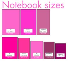 Notebook size chart with both inches and centimeters (cm)