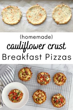 These Mini Homemade Cauliflower Crust Breakfast Pizzas are a low carb, gluten-free version of english muffin pizzas! These little cuties are delicious, filling and won't fall apart on you! #cauliflowercrust #breakfastpizza #homemade #easybreakfast #lowcarb #glutenfree Breakfast Pizza, Breakfast Recipes, Dinner Recipes, Protein Breakfast, Pizza Recipes, Fall Recipes, Breakfast Ideas, Dinner Ideas, Cauliflower Dishes