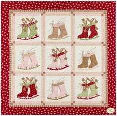 Icicle Days Quilt Pattern: Create a quilt you'll enjoy every ice skating season. Layer Cake friendly, this quilt designed by Bunny Hill Designs is fun and easy applique. This pattern includes all instructions and diagrams to complete a quilt measuring 55 Christmas Applique, Christmas Sewing, Christmas Crafts, Christmas Quilting, Christmas Patchwork, Christmas Blocks, Christmas Presents, Christmas Time, Snowman Quilt