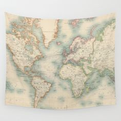 Vintage+Map+of+The+World+(1911)+Wall+Tapestry+by+BravuraMedia+-+$39.00