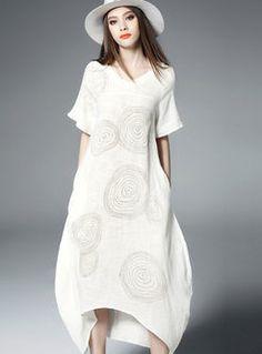 Brief print o-neck loose maxi dress