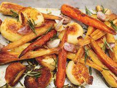 Chirivías, patatas y zanahorias al horno