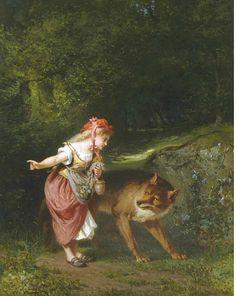 "Eugene Joseph Lejeune (1818-1897), ""Little red riding hood"" Little Red Ridding Hood, Red Riding Hood, Book Illustration, Illustrations, Charles Perrault, Big Bad Wolf, Painter Artist, Fairytale Art, Red Hood"