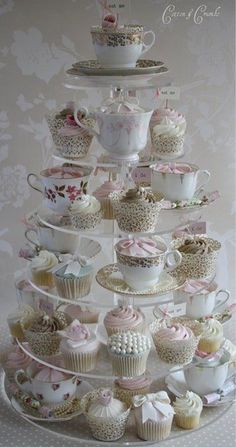 High tea tier of cupcakes