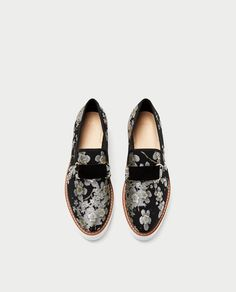 Image 5 of FLORAL PRINT PLATFORM BROGUES from Zara