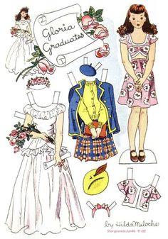 (⑅ ॣ•͈ᴗ•͈ ॣ) ✄GLORIA GRADUATES Story Parade June 1947 Hilda Miloche paper dolls