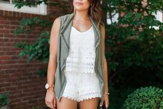 Summer style on Glitter & Gingham // Lace white romper, Vince Camuto Lace Up Sandals, Clare V. Handbag, Timex Watch, Utility Vest