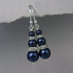 Nav Pearl Earrings, Bridal Earrings, Bridesmaid Earrings, Bridesmaid Gift Earrings, Swarovski Night Blue Pearl Earrings, Wedding Earrings