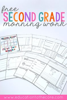Freebie Second Grade Morning Work sample for two weeks. These free printables are great to place in a binder or use as a morning work learning packet for students. Includes 10 fun pages full of math, writing, language, literacy, number sense, and place value activities. Make your back to school morning routine easy in your classroom with this common core morning work!
