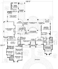 Mediterranean Style House Plan - 5 Beds 4.5 Baths 5315 Sq/Ft Plan #420-133 Main Floor Plan - Houseplans.com