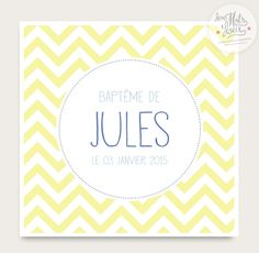 Faire part baptême/ naissance, chevron jaune JULES, moderne, vintage et personnalisable! : Faire-part par des-mots-doux