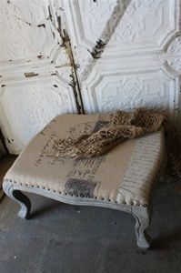 Burlap Ottoman  use material like this to recover formal seat for bedroom