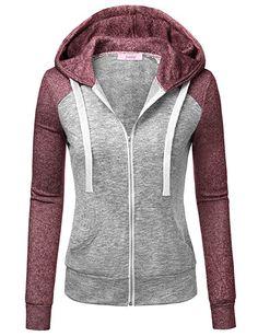084699fdb5 Jubby Women s Color Block Long Sleeve Zip-Up Sweatshirt Hoodie With Pockets