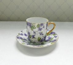 Violet Chintz Demitasse Cup and Saucer Japan. $9.00, via Etsy.